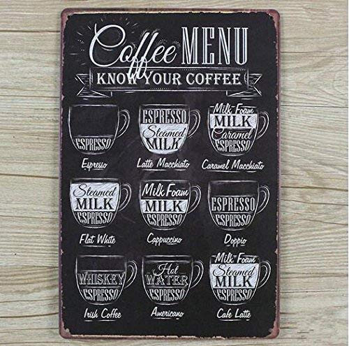 Targa in metallo stile retr/ò vintage shabby chic menu del caff/é lounge bar dimensioni: 20/x 30/cm per cucina