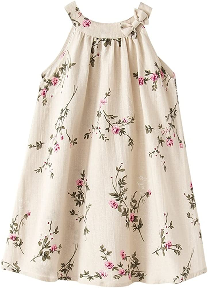Girl Summer Linen Casual Dress Ink and Wash Painting Sleeveless Dress