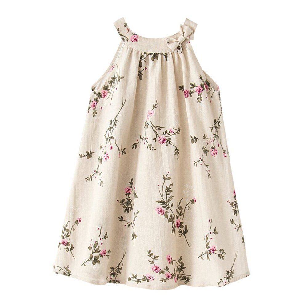 Girl Summer Linen Casual Dress Ink and Wash Painting Sleeveless Dress (10-12, Beige)
