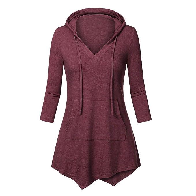 HARRYSTORE Mujer Blusas largas asimetricas con volantes, blusas vestir manga 3/4 con capucha