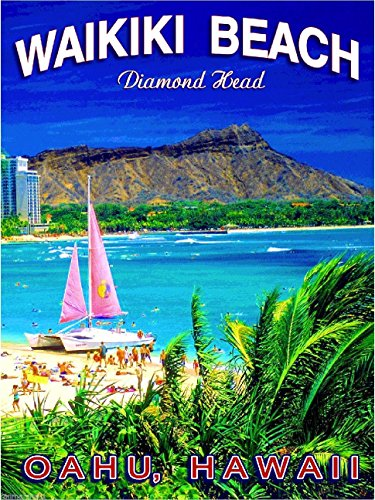A SLICE IN TIME Hawaii Diamond Head Waikiki Oahu United States Travel Advertisement ()