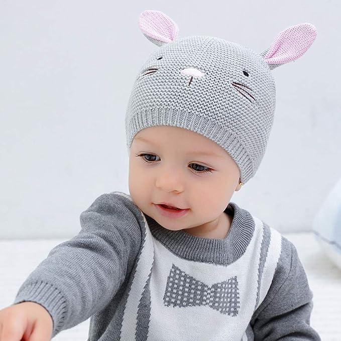 7007286a95f Amazon.com  XIAOHAWANG Baby Boys Girls Beanie Knit Infant Baby Caps Cute  Rabbit Toddler Hat Cute Ears  Clothing