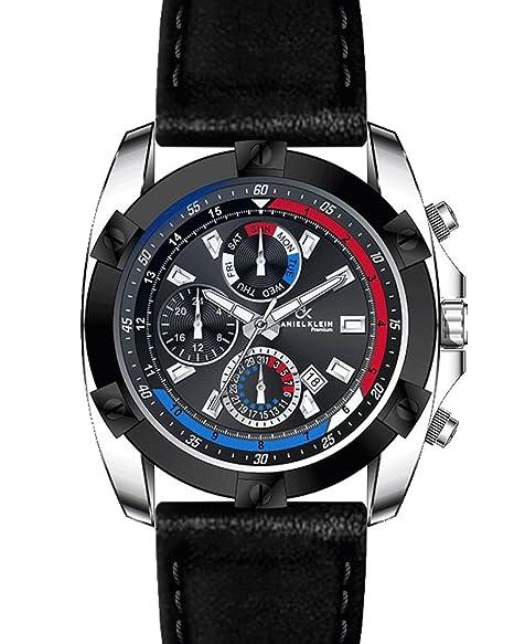 Reloj para caballero Daniel Klein con esfera negra en acero con correa de piel negra.