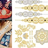 Mandala Temporary Tattoos for Women Silver Gold Waterproof Metallic Tattoos Stickers Removable Tattoos Body Art Fake Tattoos for Women & Girls Party Favors 1PC (Multicolor)