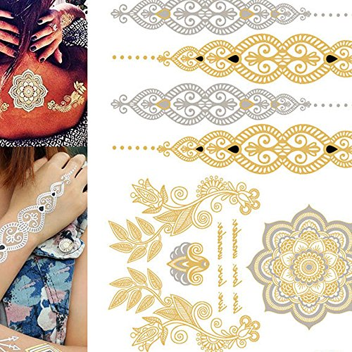 Tattoo Stickers Metallic Mandala Temporary Sticker Indian Style Hana