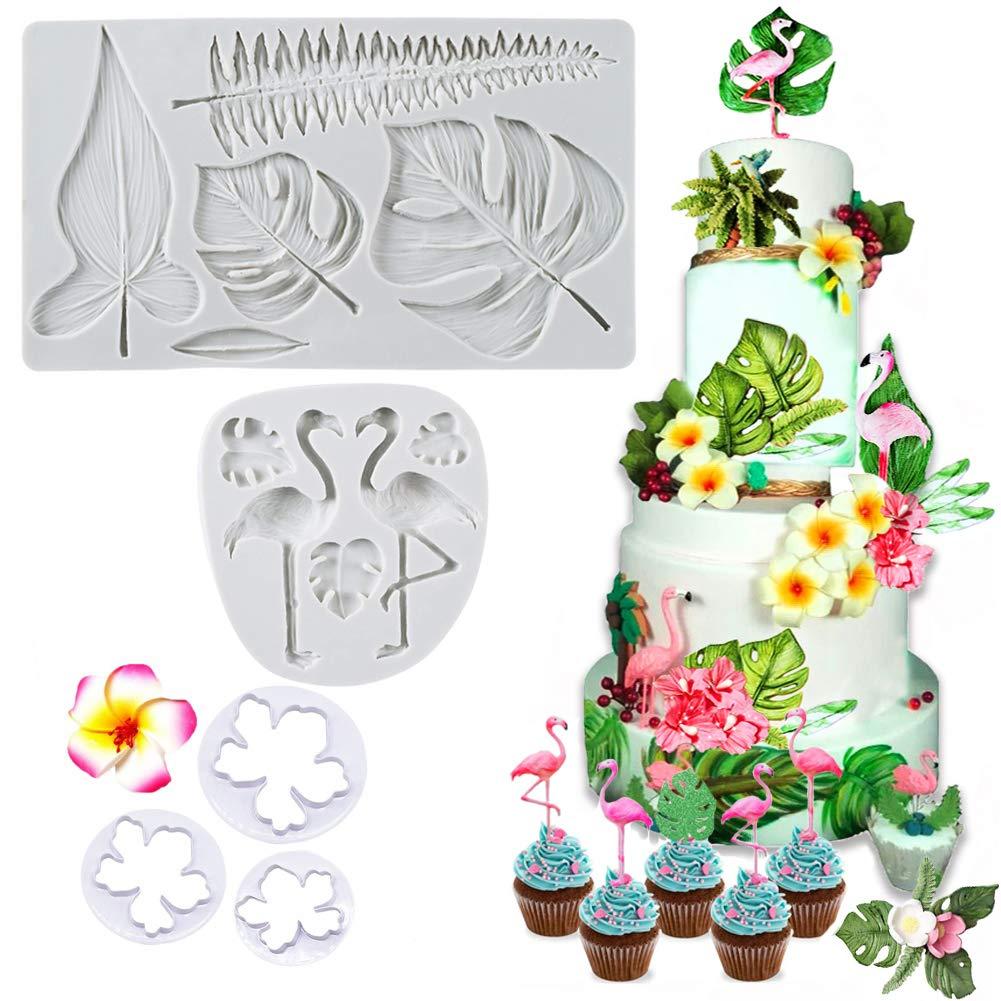 SAKOLLA Hawaiian Tropical Theme Cake Fondant Mold - Flamingo Palm Leaves Coconut Tree Leaves Flowers Candy Chocolate Mold for Summer Luau Cake Decorating by Sakolla