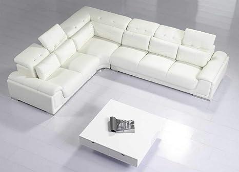 Strange Amazon Com Contemporary White Leather Sectional Sofa W Creativecarmelina Interior Chair Design Creativecarmelinacom