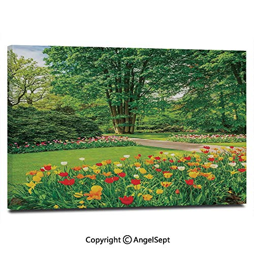 Canvas Prints Modern Art Framed Wall Mural Garden in Keukenhof Colorful Tulip Flowers and Trees Foliage Spring in Netherlands Wall Decorations for Living Room Bedroom Dining Room Bathroom Office,
