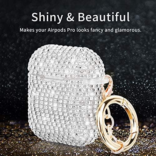 Case for Airpods, Filoto Cute AirPod Accessories Cases Cover Bling Crystal TPU Protective Case with Lobster Clasp Keychain for Apple Air Pods 2&1 Charging Case, Best Gift for Women Girls (Silver) 61Om3 Od7rL