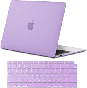 Kuzy - MacBook Air 13 inch Case 2019 2018 Release A1932 with Keyboard Cover for 13 inch MacBook Air Case with Retina Display and Touch ID - Light Purple