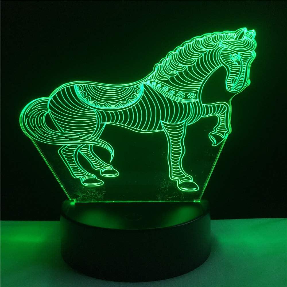 wangZJ Lámpara de ilusión visual 3d / 7 colores Control remoto de gradiente de atenuación/niño Niños Baby Sleep Lámpara de decoración de cabecera/Carrera de caballos
