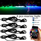 Waterproof RGB 36W LED Boat Lights with Bluetooth Controller,DIY,Music Mode - 4 Pods Ip68 Water-proof Marine Boat Drain Plug LED Light Underwater Lights Waterproof Yacht Boat Drain Plug Led Light