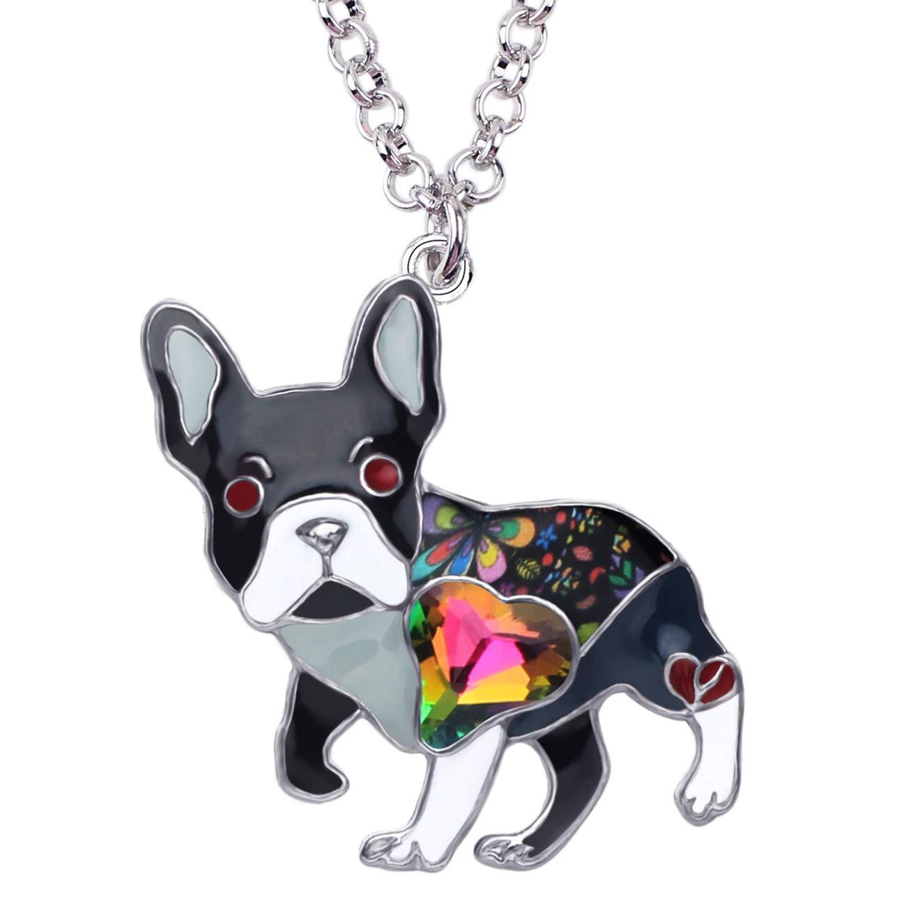 BONSNY Statement Enamel Rhinestone French Bulldog Necklaces Pendant Original Design for Women Kids Jewelry