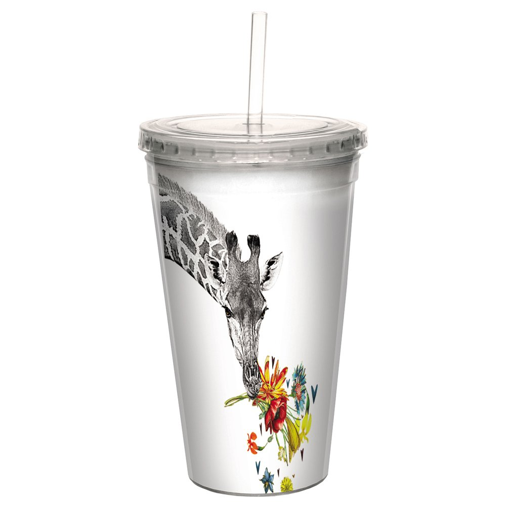 Tree-Free Greetings CC98865 Cool Cups, Double-Walled Pba Free with Straw and Lid Travel Insulated Tumbler, 16 Ounces, Checking in Giraffe