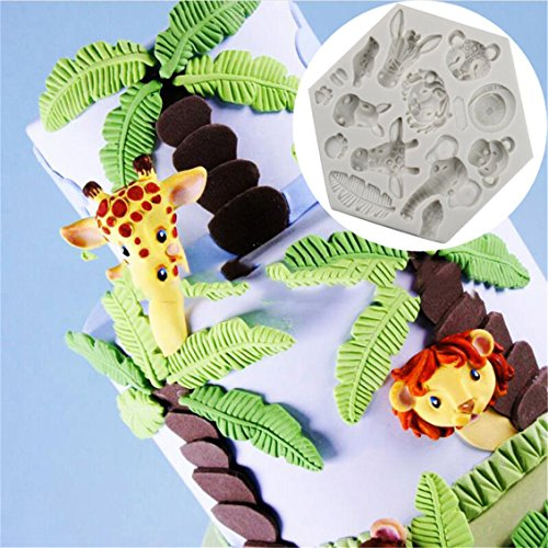 - Dolland Silicone Mold Elephant Giraffe Lion Monkey Zoo Animal Jungle World Molds Cake Lace Decorating Fondant Cake Tools,White-L084