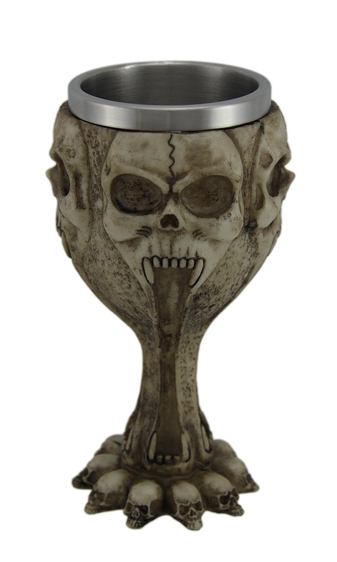 Resin Goblets Gothic Screaming Skulls 12 Ounce Goblet W/Stainless Steel Insert 3.5 X 6.5 X 3.5 Inches Tan