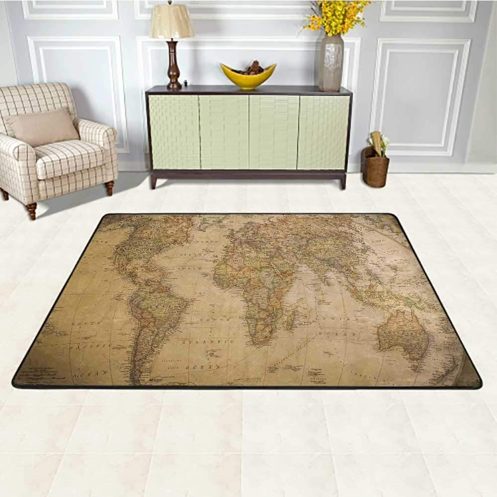 World Map Office Chair Mat for Carpet 5' x 8', Anthique Old World Map in Retro Colors Vintage Nostalgic Design Art Print HD Printed Rug, Cream Pale Coffee