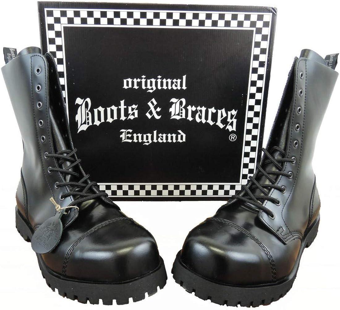 Boots /& Braces Bottes Rangers avec Lacets 10 Trous Noir