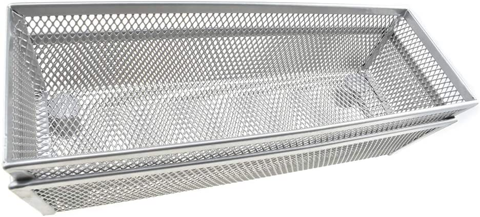HAHIYO Stackable Mesh Tray Cup 9 x 3 x 2 inches Sturdy Container for Desk Drawer Organizer Collection for Home Office School Kitchen Soft Foam Feet No Sharp Edges 2 Pack Silver