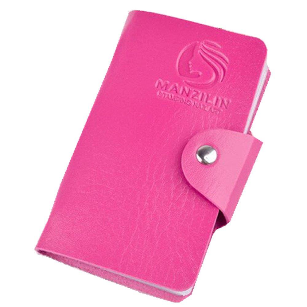 Vibola 20 Slots Nail Art Stamp Plate Stamping Plates Holder Storage Bag Cases Bag (Hot Pink)