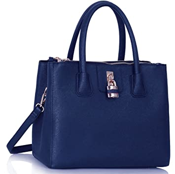 de25a9dc73 LeahWard Große Tragetaschen für Frauen Qualität Kunstleder 3 Fächer  Umhängetasche Handtaschen A4 Ordner Schule 195 (