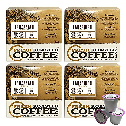 Tanzanian Peaberry Single-Serve Coffee Pods, 72 Capsules for Keurig K-Cup Brewers, Fresh Roasted Coffee LLC. (72 Count)