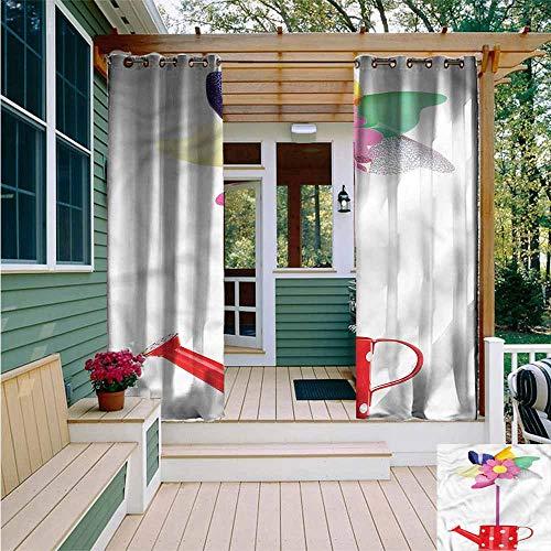 - Beihai1Sun Curtains for Bedroom,Pinwheel Watering Can and Flower,Waterproof Patio Door Panel,W96x72L