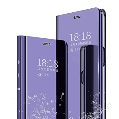 on sale e9410 0ac85 DAYNEW for Samsung Galaxy J6 Plus Case Cover,Mirror Smart Flip Cover Stand  Function Plating Ultra Slim Fit Makeup Practical Protective Case For ...
