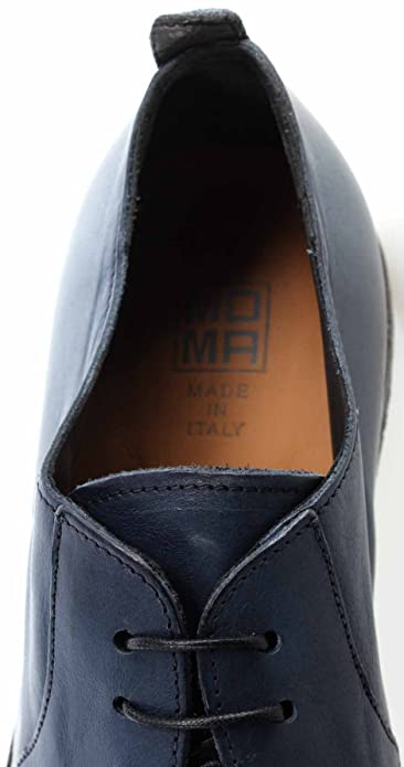 MOMA! Men's Classic Shoes 22805 5D ribot Avio Leather Blue