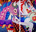 Carousel Horses Acrylic Painting 22 x 36 18 x 36 On Professional Watercolor Paper