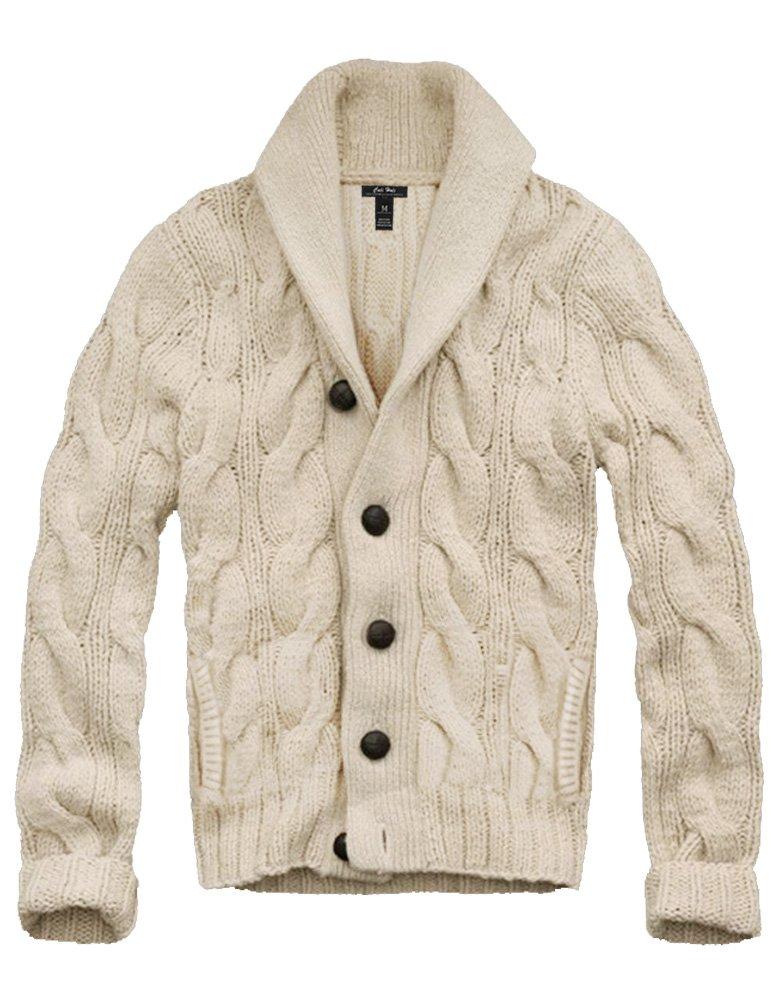 Mens Cali Holi Cable Knit Shawl Collar Cardigan Style Sweater Beige US XXL