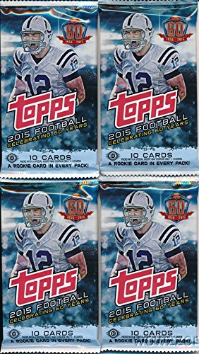 Hobby Trading Card (2015 Topps NFL Football Lot of FOUR(4) Factory Sealed HOBBY Packs with 40 Cards! Brand New! Loaded with Cool Inserts & New Rookie Cards! Look for Autograph and Relic Cards!)