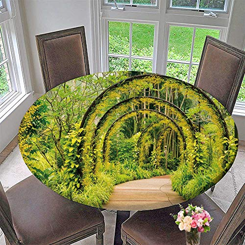 PINAFORE HOME Elasticized Table Cover Arch Way of Yellow Orchid from sapore National Orchid Garden Machine Washable 40