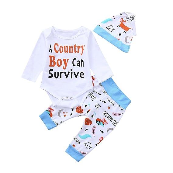 Ropa para bebés, Ropa para niños, (0-24M) Baby Top Sleeve Letter Top Pants Sombrero 3 Piezas Set A Country Boy, 3PCS: Amazon.es: Ropa y accesorios