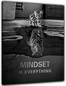 "Mindset is Everything Motivational Canvas Wall Art Inspirational Entrepreneur Quotes Poster Picture Painting Artwork Print for Living Room Bedroom Office Home Decor Framed Ready to Hang- 12""Hx18""W"""