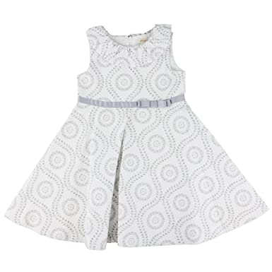 f03b69f522936 Baby Girls Cotton Sleeveless Dress and Pants Set In Grey and White Textured  Print (2