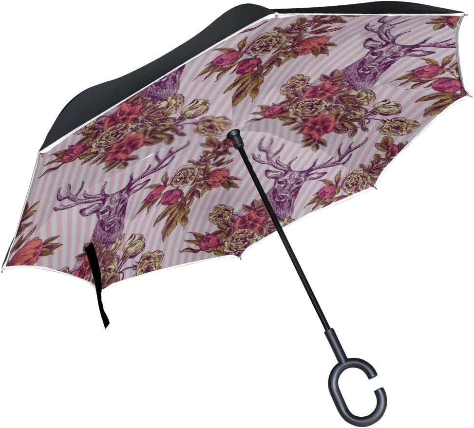 Double Layer Inverted Inverted Umbrella Is Light And Sturdy Boho Style Hand Drawn Seamless Pattern Reverse Umbrella And Windproof Umbrella Edge Night