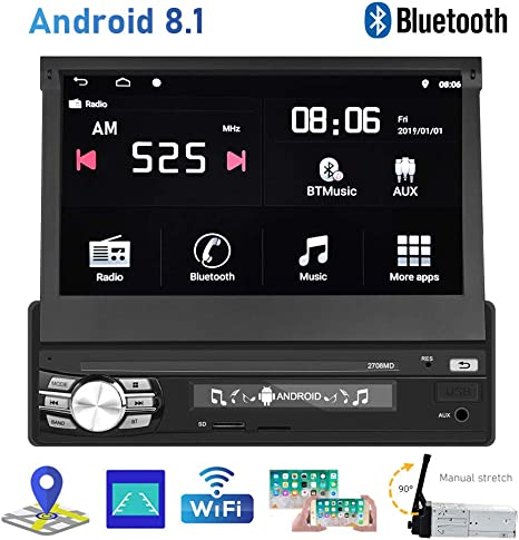 Car Radio Android 8.1 Single Din Car Stereo 7 Inch Flip Out Touch ...