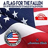 U.S. American Flag + Free Affiche 4x6. Made in U.S.A. Top-Rated Duralast Fabric. Embroidered Stars, Sewn Stripes, Brass Grommets. 30% of Proceeds Donated to Families of Fallen Officers