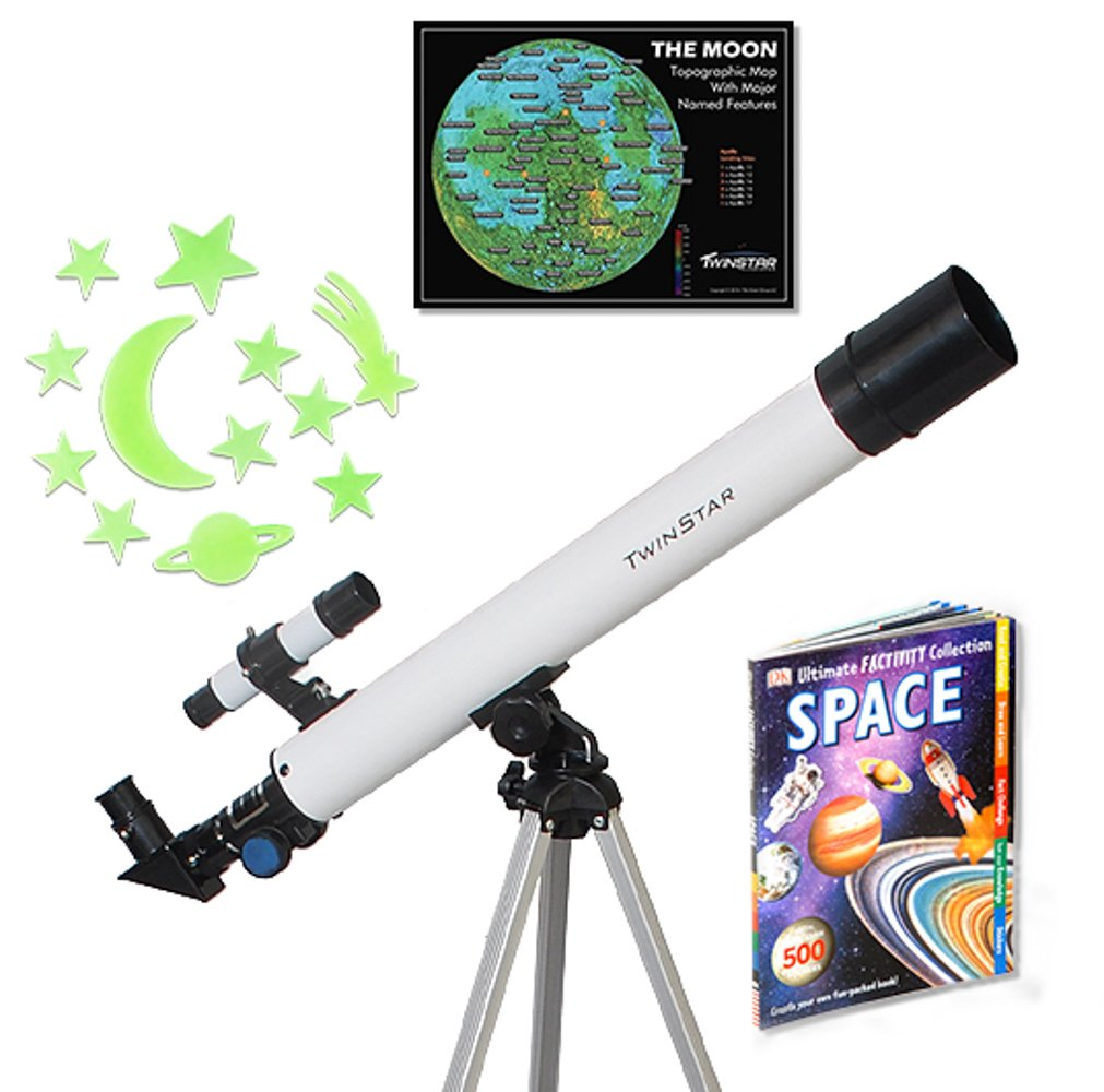 White TwinStar AstroMark 50mm 75x Refractor Telescope Kids Pak Bundle