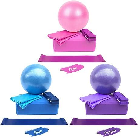 5PCS Exercise Yoga Ball Set Balance Stretch Band Resistance Fitness Workout Kit