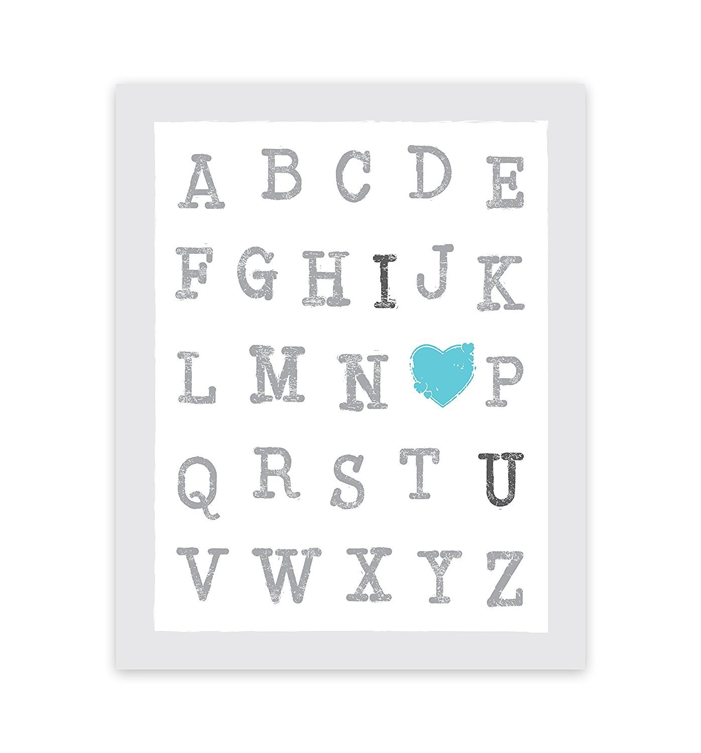 ABC's of Love Blue 08x10 Inch Print, I Love You Wall Quotes Nursery Quotes Alphabet Letters Words Art Alphabet Wall Art Decor Baby Boy Nursery Decor Wall Art ABC I Heart You Designs by Children Inspire Design