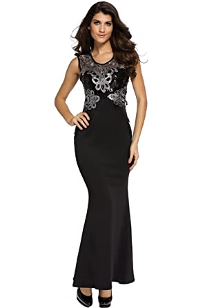 CutePaw Women s Sexy Sleeveless Sheer Lace Applique Sequin Mermaid Maxi  Dress Party Evening Gowns at Amazon Women s Clothing store  e8fd83d82