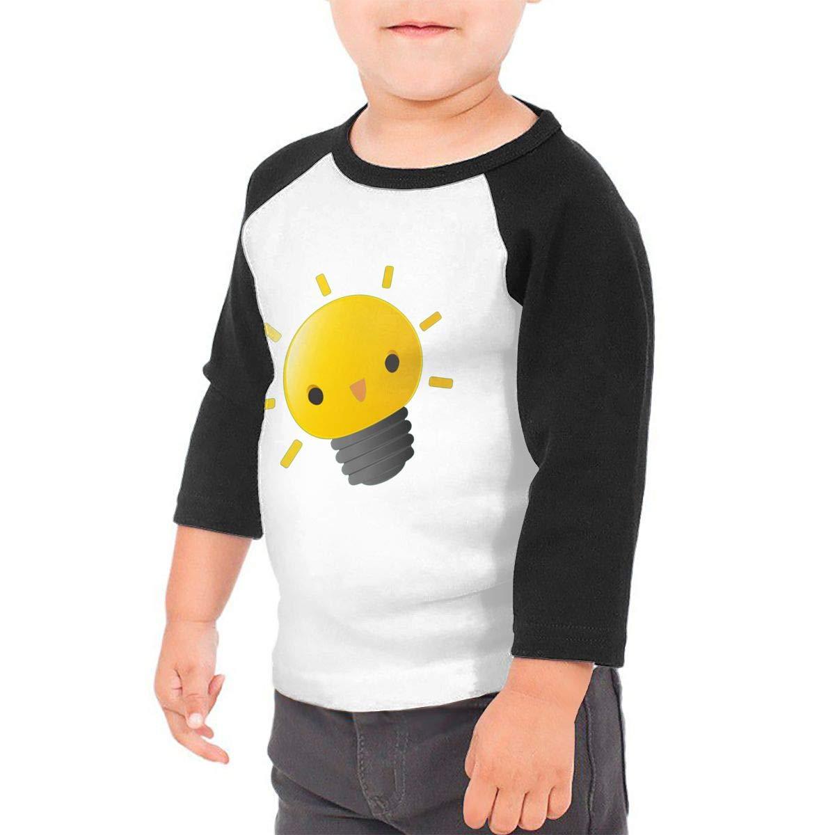yimo Lightbulb is So Kawaii Unisex Toddler Baseball Jersey Contrast 3//4 Sleeves Tee