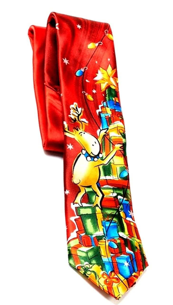 Jerry Garcia Mens Designer Fashion Holiday Tie Party Reindeer with Gifts