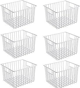 blitzlabs Farmhouse Decor Metal Wire Food Storage Organizer Bin Baskets, Large Organizer Bins for Fridge Storage Freezer, Office, Bathroom, Pantry Organization Storage Bins Rack,Pack of 6