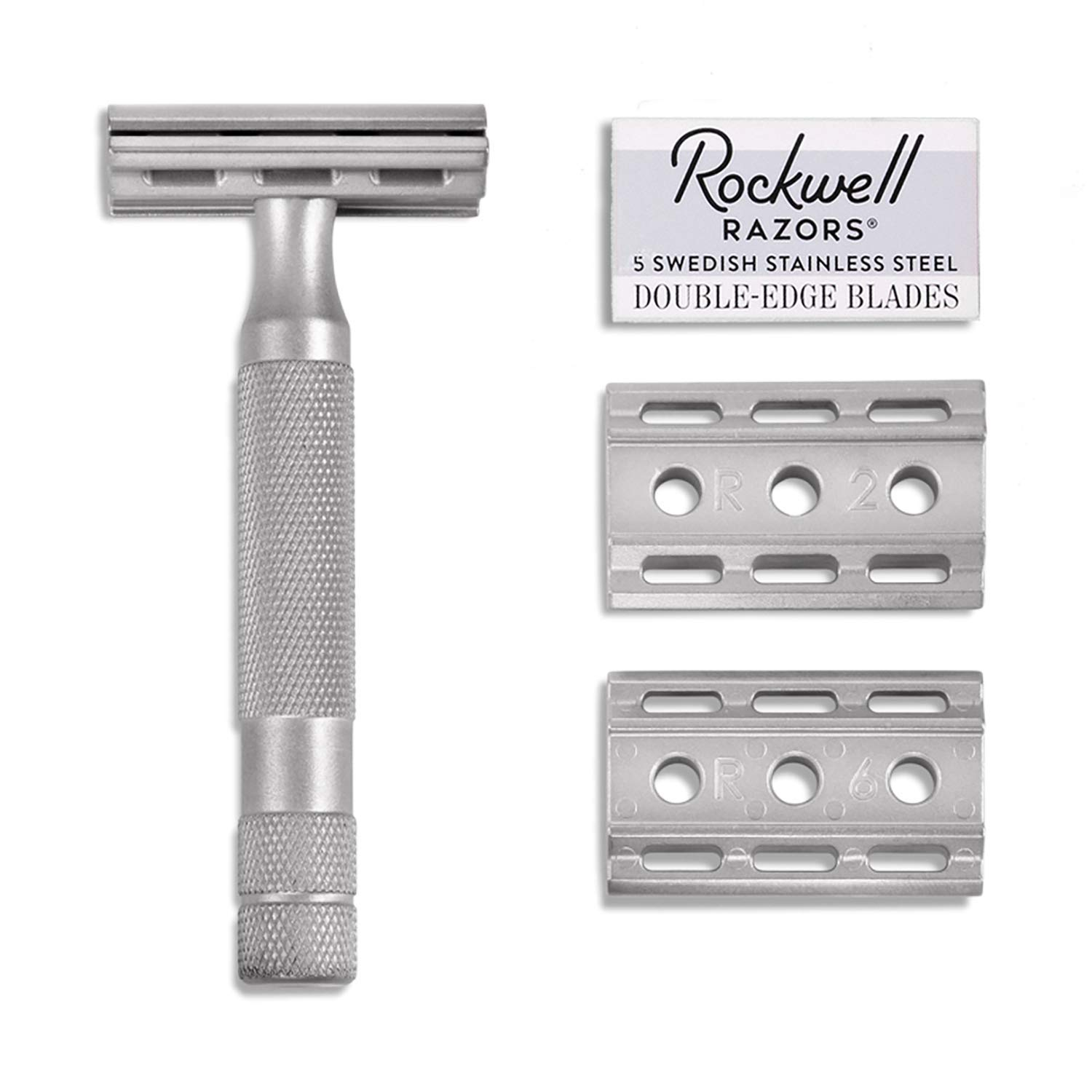 Rockwell Razors 6S Stainless Steel Adjustable Double Edge Safety Razor + 5 Swedish Stainless Steel Razor Blades by ROCKWELL RAZORS