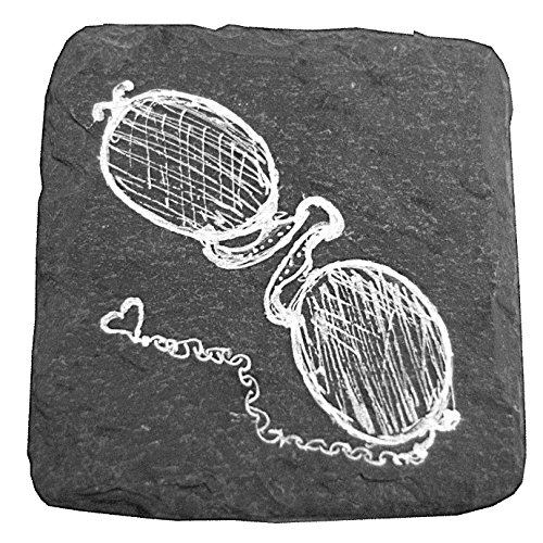 Steampunk Series Spectacles Chalk Art Painted on 4-inch Square Slate - Square Spectacles