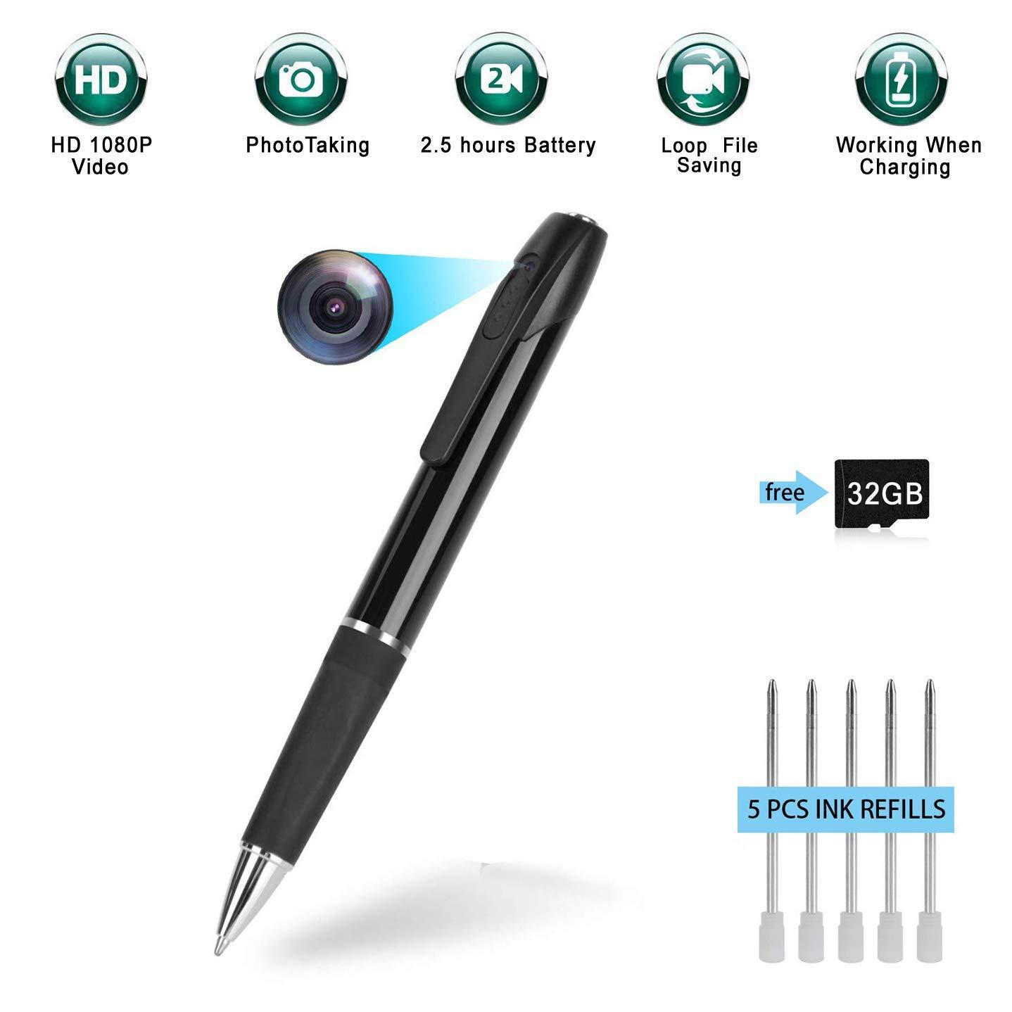 Mini penna per fotocamera-Penna per telecamera spia-Penna per fotocamera nascosta HD 1080p HD 2,5 ore di video Durata della batteria con 32 GB di memoria per conferenze aziendali e sicurezza GSmade
