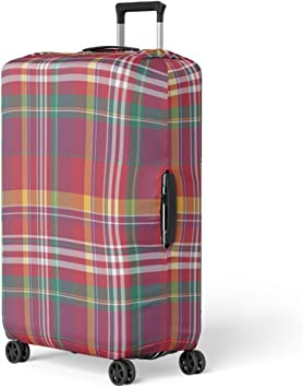 Travel Luggage Cover Plaid Check Pattern Teal Green Aqua Suitcase Protector
